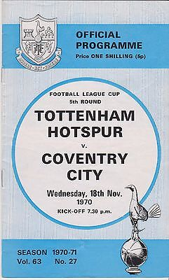 SPURS v COVENTRY CITY LEAGUE CUP 1970/71