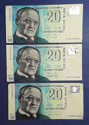 FINLAND: 3 x 20 Markkaa Banknotes Extremely Fine Condition