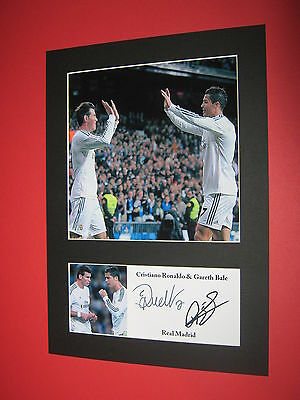 Cristiano Ronaldo Gareth Bale Photo Mount Signed Reprint Autographs Real Madrid