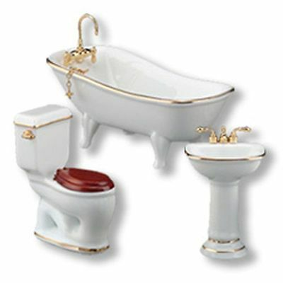 Dollhouse Miniature Classic White 3pc Bathroom by Reutter Porcelain