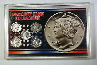 Mercury Dime Collection Set 5 Silver Coins *Mixed Dates* In Plastic Case