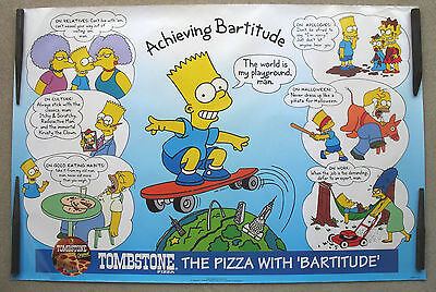 NOS Vintage Tombstone Pizza Simpsons' Poster - Bart Achieving Bartitude 1994