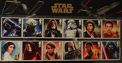 Star Wars Character Stamp Set on a Presentation Card.  GB mint stamps