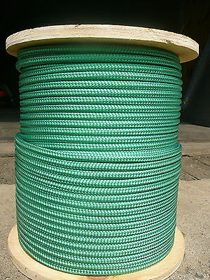"""NovaTech XLE Sheet Halyard Line, Sailboat Rigging Rope 5/16"""" x 63' SOLID GREEN"""