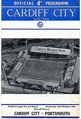 Oct 65 CARDIFF CITY v PORTSMOUTH League Cup