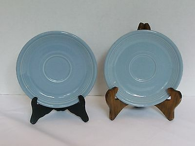 "Pair Periwinkle Blue Fiesta Ware 6 "" Saucers Homer Laughlin China USA"