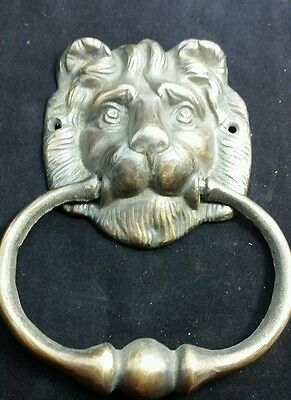 "Lion Head Door Knocker Solid Brass  Ornate Detail 6 1/2"" #D2"
