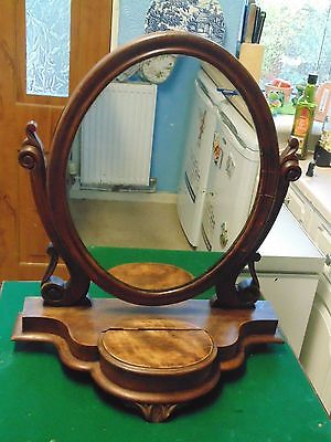 Antique Early Edwardian Large Mahogany Wood Tilting Mirror Gothic Steampunk