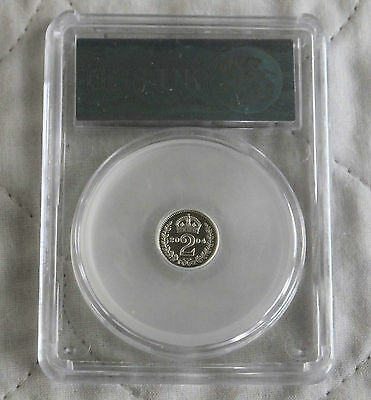 2004 Maundy Silver Proof Two Pence Slabbed Cgs 98