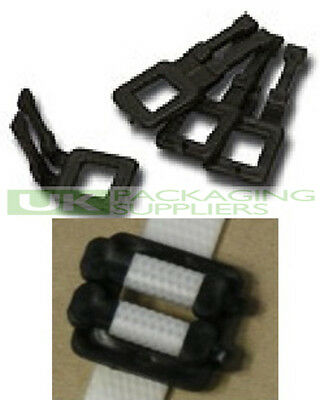 1000 x STRONG PLASTIC BUCKLES CLIPS FOR 12MM WIDE HAND PALLET STRAPPING BANDING