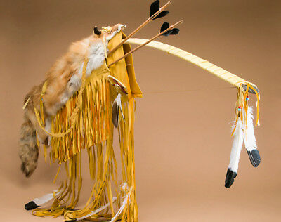 Native American NAVAJO HANDMADE Deer Skin and Red Fox Bow Arrow Set Case 48""