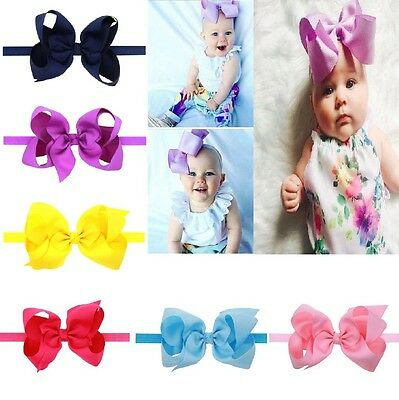 "6"" BABY BOWS BOUTIQUE Hairband Soft knot Band CLIPS GROSGRAIN RIBBON BOW GIRL UK"