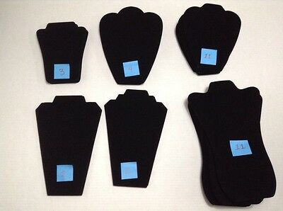 Black Velvet Jewelry Easels Lot of 29 Six Sizes Necklace Display Stand Up