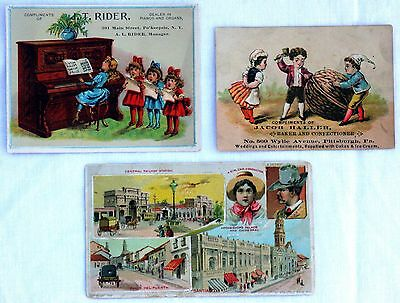 Lot of 3 Vintage Victorian Coffee, Baker, Piano Advertising Trade Cards