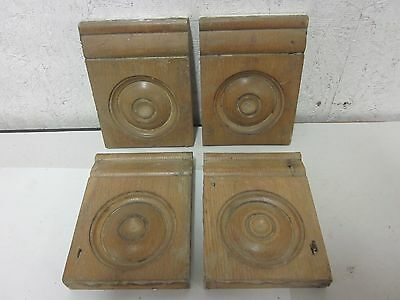 4 Antique Victorian Oak Salvaged Rosette Wood Door Plinth Blocks  Architectural