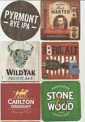 Attractive Selection of 6 different  AUSTRALIAN Brewery Beermat/Coasters B