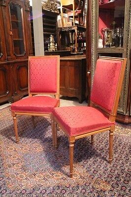 Pair of chairs style Louis the 16th in beech wood blond