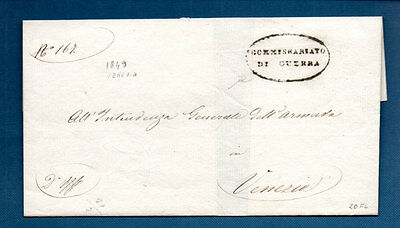 Venezia 1849 Wrapper (War Of Independence) Oval Cachet Commissariato Di Guerra