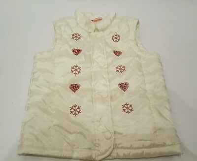 Girls John Lewis winter Gillet / Body Warmer. Age 5-6 Years. Snowflakes hearts