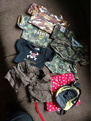 Build A Bear Lot; Army Camping with Sleeping Bag, Backpack