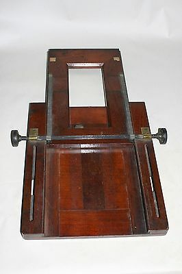 Vintage mahogany and Brass camera focussing rack.
