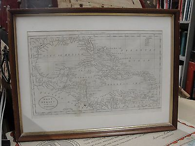 19th c. Jedidiah Morse Engraved Map Caribbean America Framed West Indies 1800s