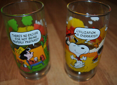 Vintage McDonalds CAMP SNOOPY COLLECTION Glass PEANUTS Snoopy 1968, 1971