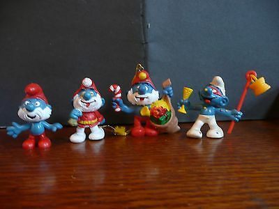 VINTAGE CHRISTMAS SMURFS PEYO/SCHLEICH W. Germany Set of 4