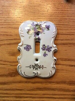 VTG Ceramic Single Light Switch Plate Cover Purple Violet Floral Porcelain Japan