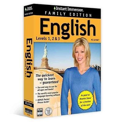 INSTANT IMMERSION English Language FAMILY EDITION Levels 1,2,3 NEW!!