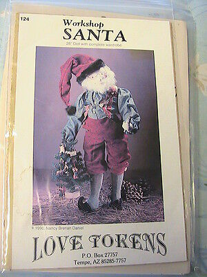 """SANTA with ELF SHOES~Love Tokens 1990 Whimsical 28"""" cloth art doll pattern"""