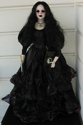 """Creepy Horror Gothic Ooak 29"""" Art Doll Ghost Of Murdered Witch Spell Book Athame"""
