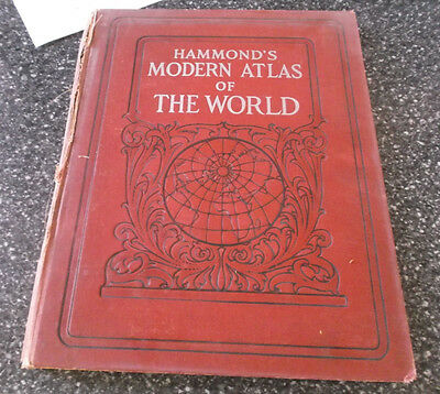 VINTAGE 1927 Hammond's Modern Atlas of the World w/ New Maps and Census Figures
