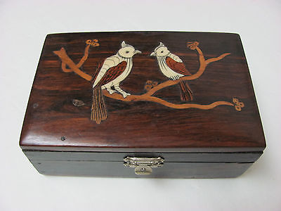 Old Chinese Rosewood Box Carved with Birds Design