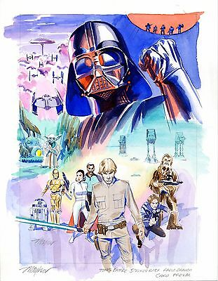 Mike Mayhew Original EMPIRE STRIKES BACK Topps Card Painted Prelim & Signed Card