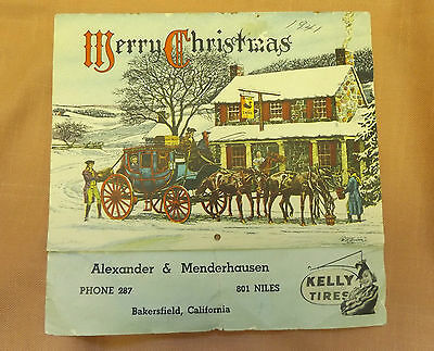 Wwii Merry Christmas Kelly Tires Buggy Horseless Carriage Auto Calendar