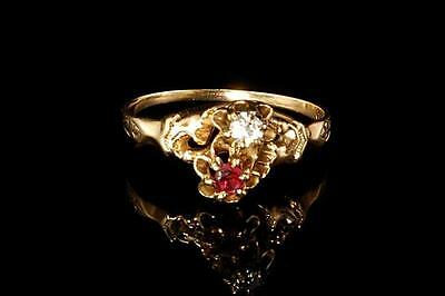 Antique Early Victorian Ruby Diamond 14K Gold Ring  (112916047)