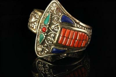 Antique Chinese Dragon Snake Coral Turquoise Lapis Silver Bracelet