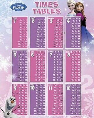 """FROZEN POSTER """"TIMES TABLES"""" LICENSED """"BRAND NEW"""" DISNEY """"SIZE 40cm X 50cm"""""""