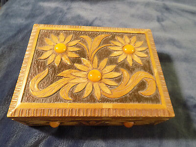 Vintage Carved Box with Amber Cabochons