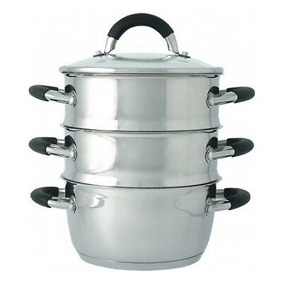 Vegetable Steamer Stainless Steel Pot Food 3 Tier Healthy Cooking Kitchen Pan
