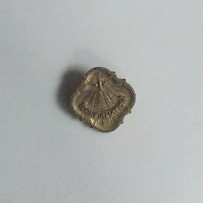 Early 1900's Antique Child's Catholic Confirmation Lapel Pin C clasp