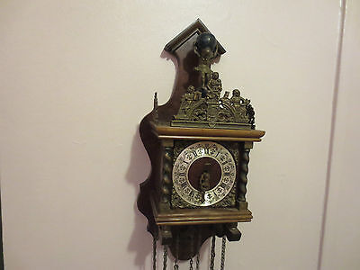 Antique Very Rare  Linden Germany Wooden Retro Chime Pendulum Wall Clock