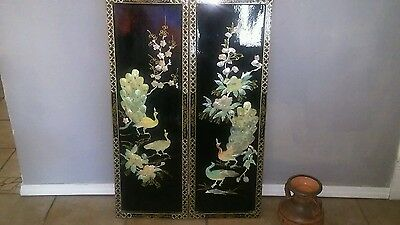"""Mother of Pearl oriental black lacquer peacocks vintage  wall hanging 12"""" by 36"""""""
