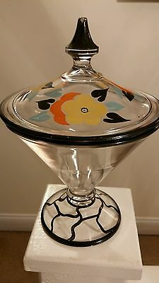 Hand Painted Vintage Art Glass Vanity Dish With Lid