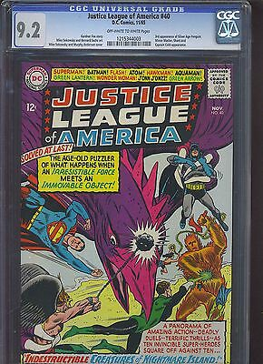 JUSTICE LEAGUE OF AMERICA #40 CGC NM- 9.2; OW-W; 3rd SA app. of Penguin!