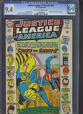 JUSTICE LEAGUE OF AMERICA #38 CGC NM 9.4; OW-W; JSA x-over!