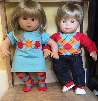 Ret American Girl Bitty Twins Blonde Blue Eyed Match Argyle Outfits Girl & Boy