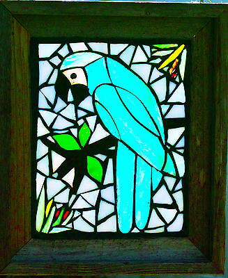 Stained Glass GREEN PARROT  Window  Hand Made #207