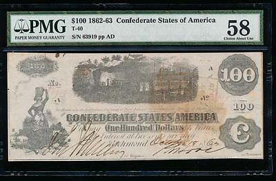 AC T-40 $100 1862 Confederate CSA PMG 58 train note